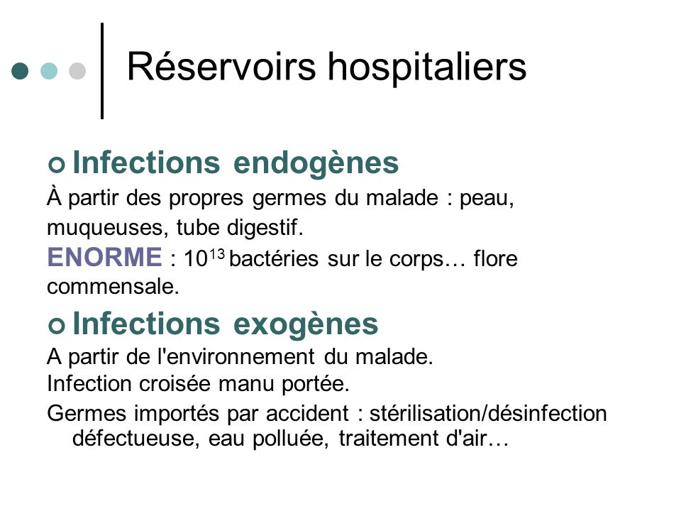 Réservoirs hospitaliers