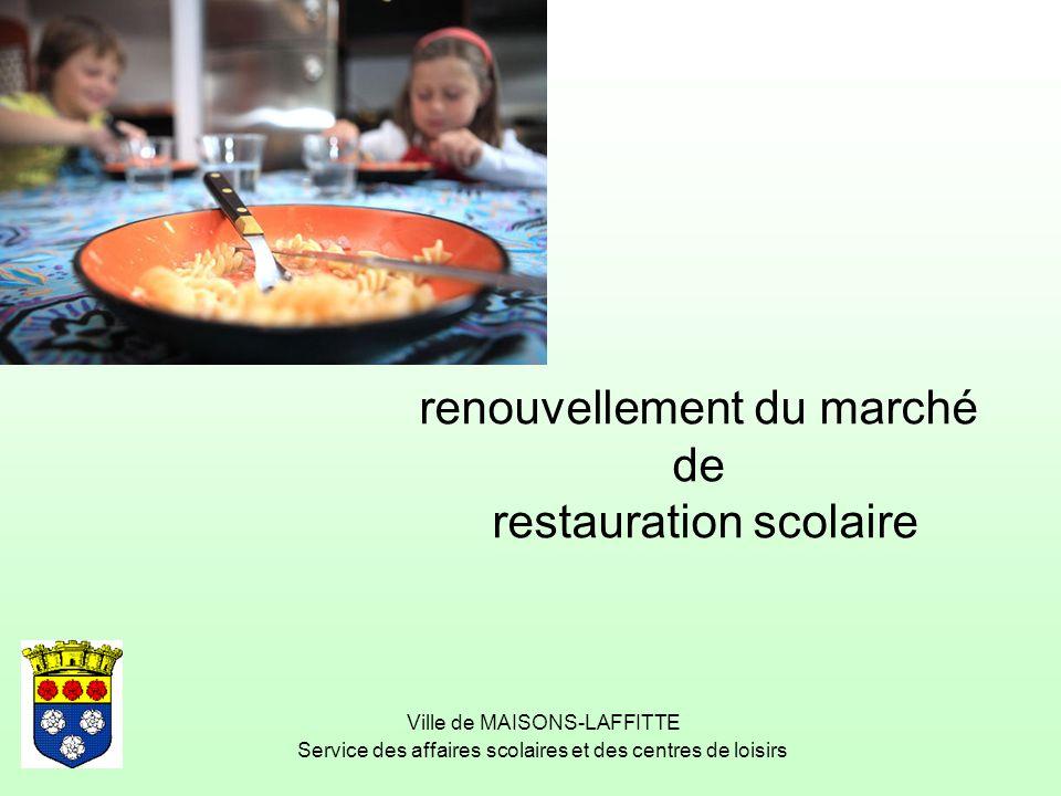 renouvellement du marché de restauration scolaire