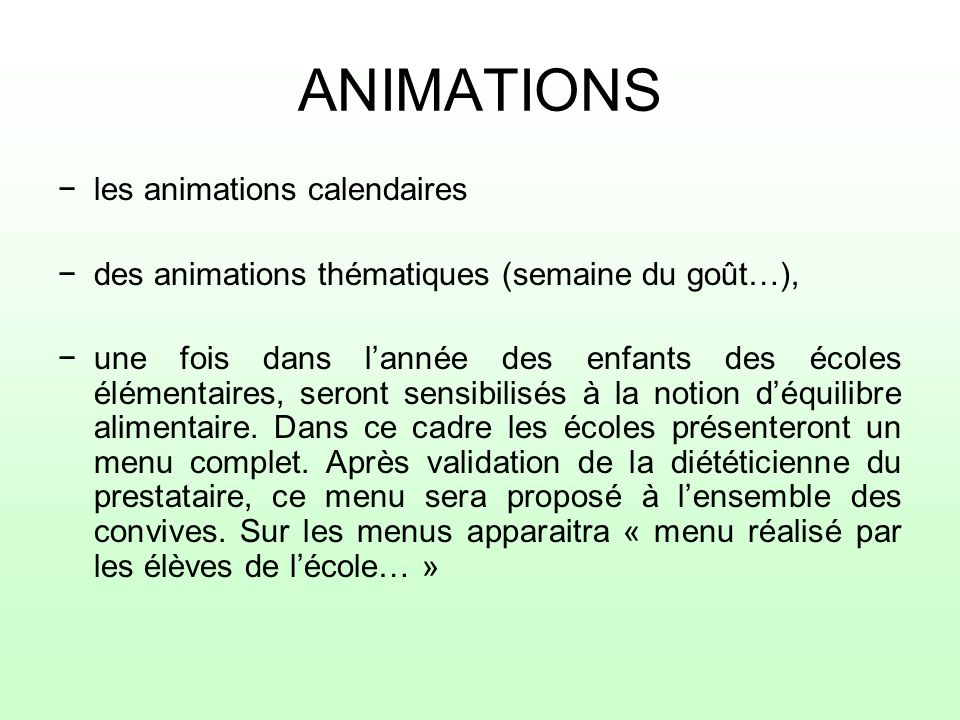 ANIMATIONS les animations calendaires