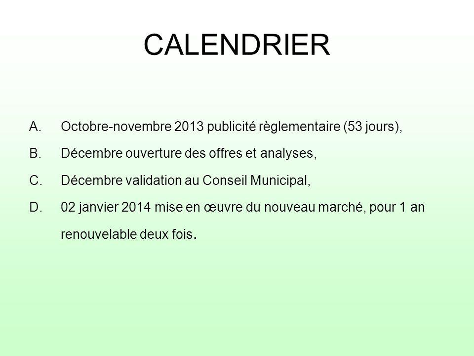 CALENDRIER Octobre-novembre 2013 publicité règlementaire (53 jours),