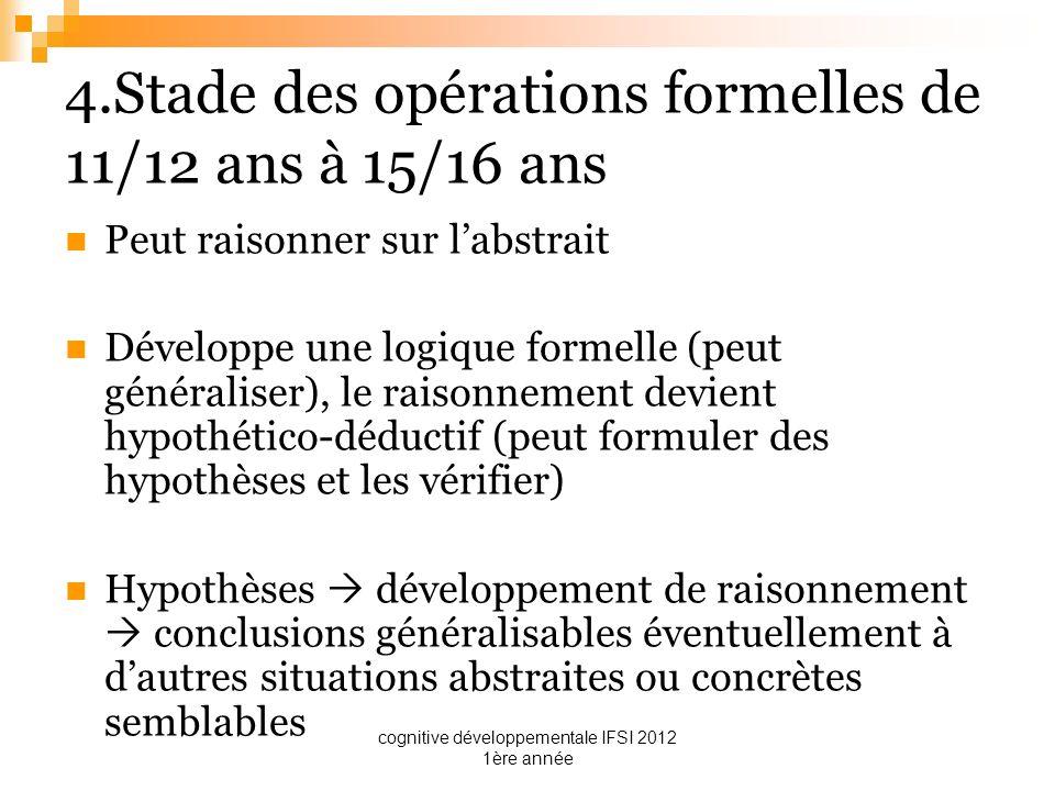 4.Stade des opérations formelles de 11/12 ans à 15/16 ans