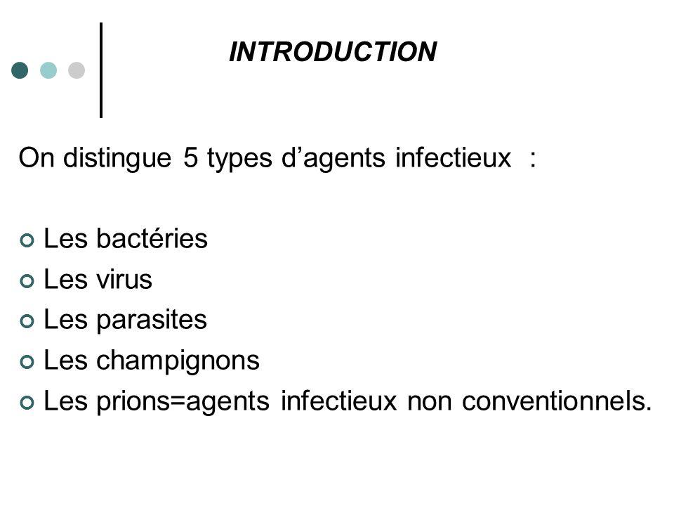On distingue 5 types d'agents infectieux : Les bactéries Les virus