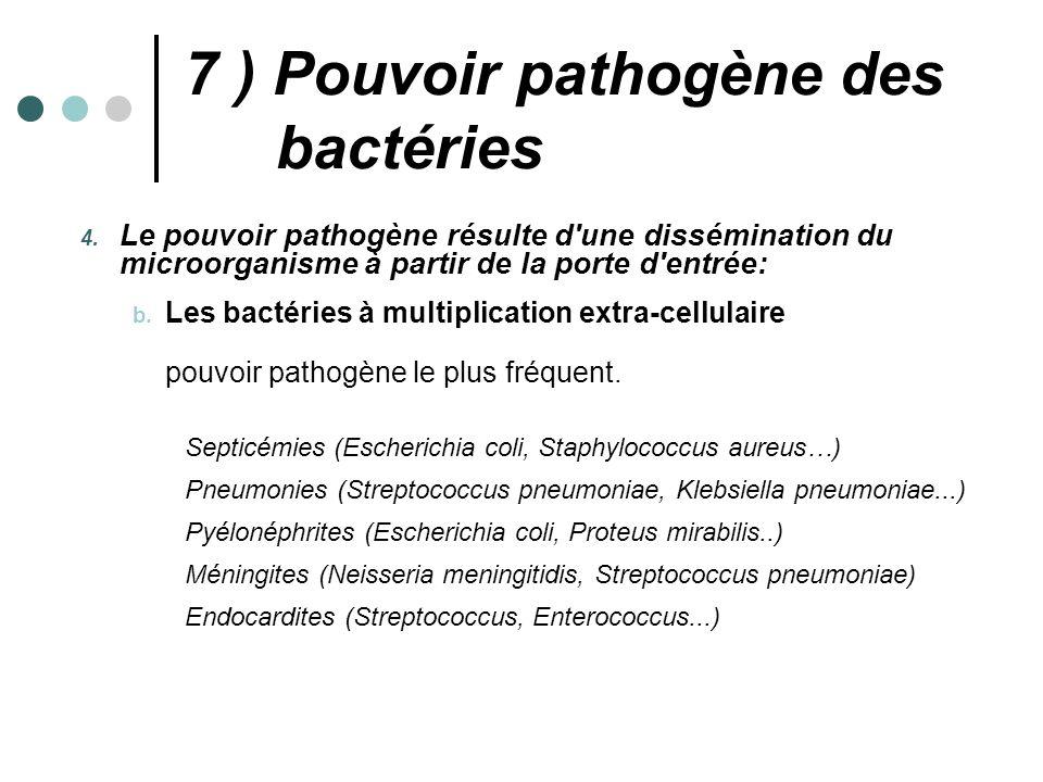 7 ) Pouvoir pathogène des bactéries