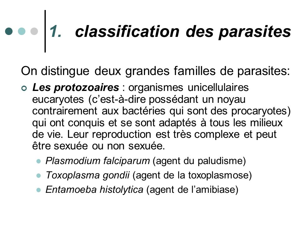 classification des parasites