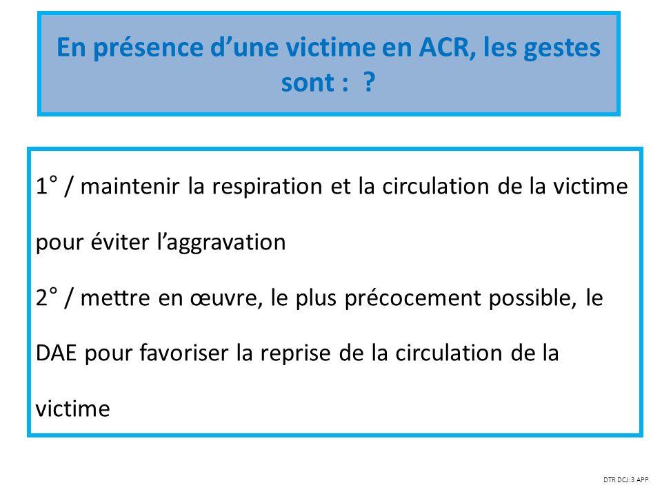 En présence d'une victime en ACR, les gestes sont :
