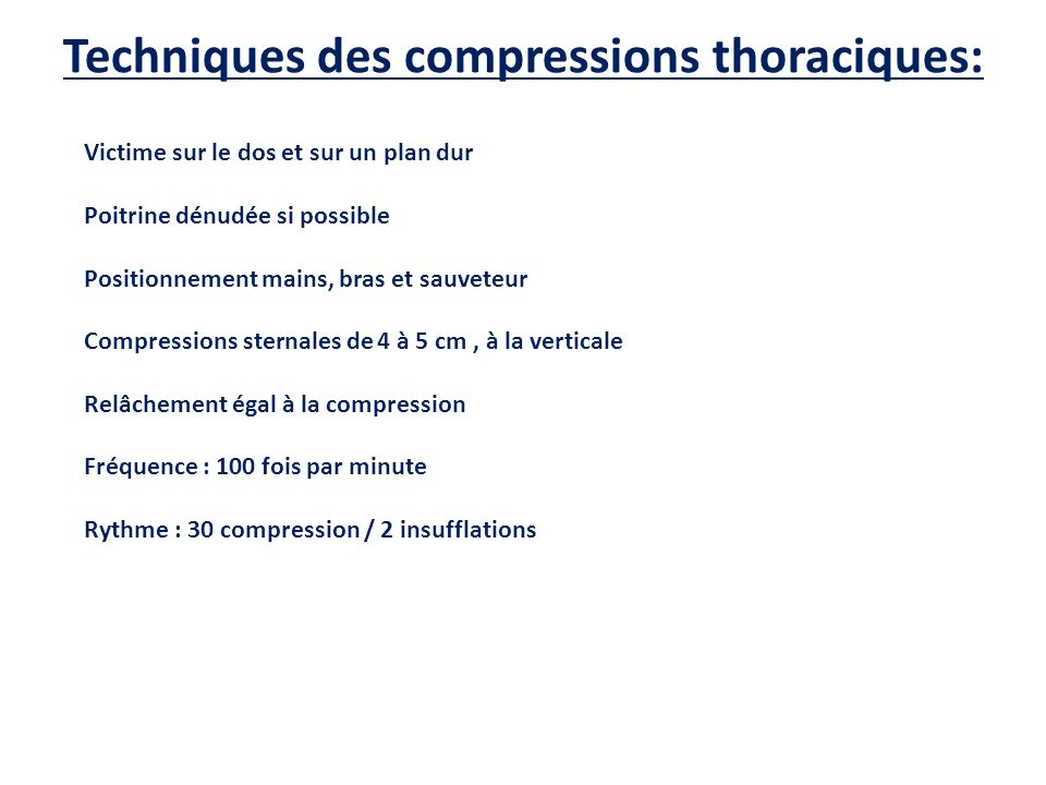 Techniques des compressions thoraciques: