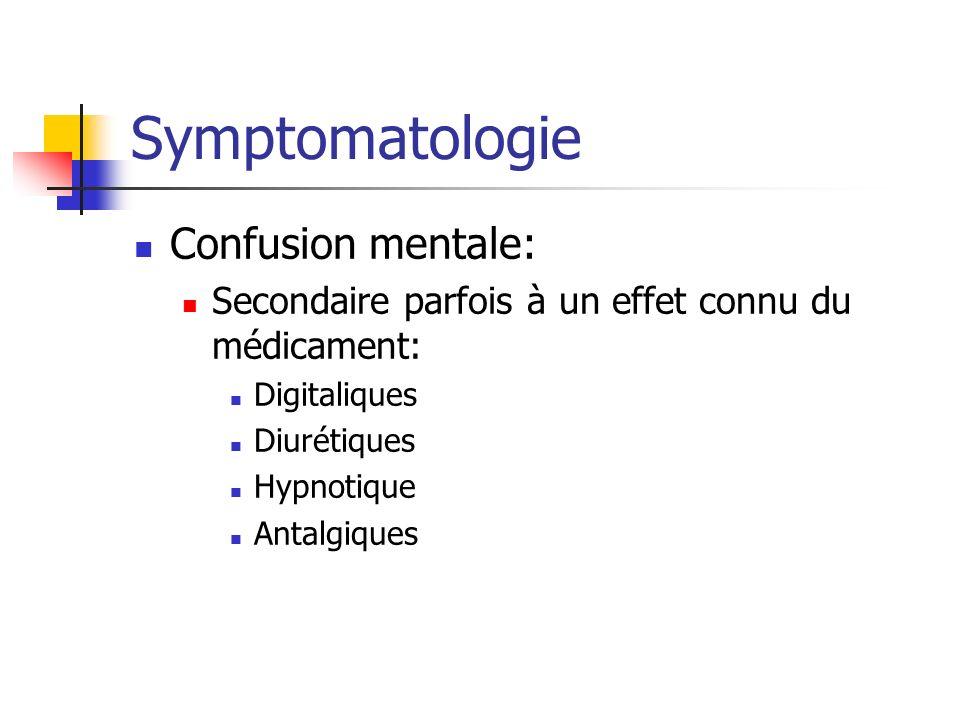 Symptomatologie Confusion mentale: