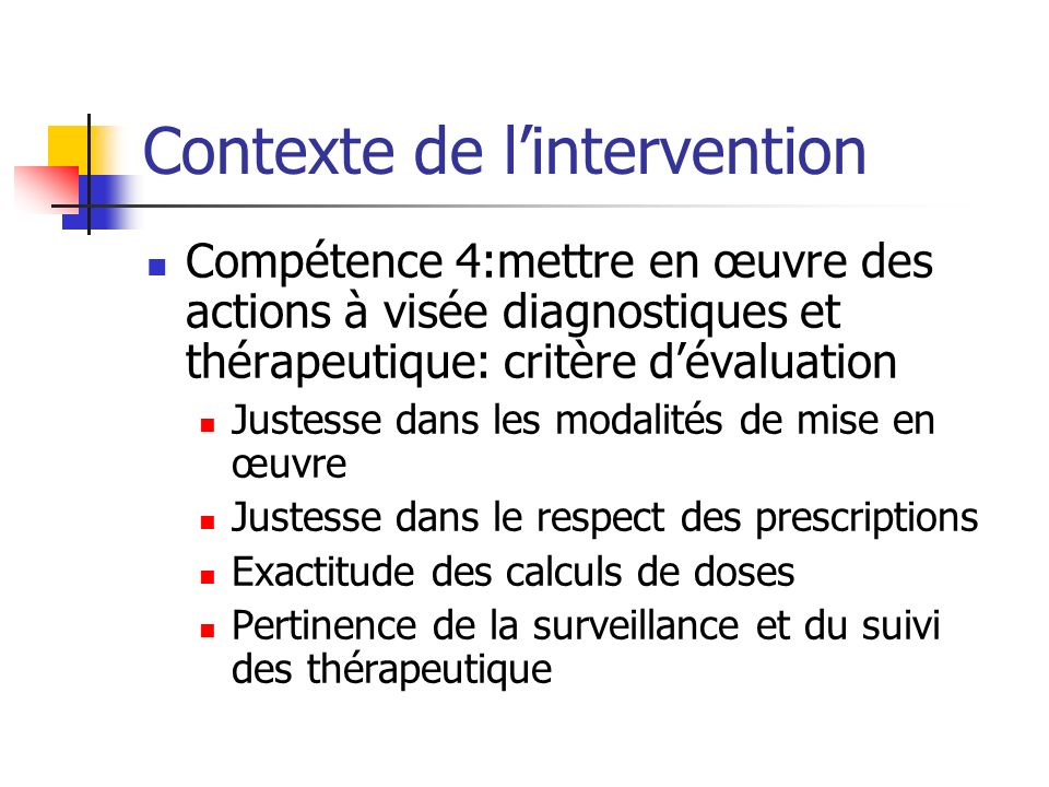 Contexte de l'intervention