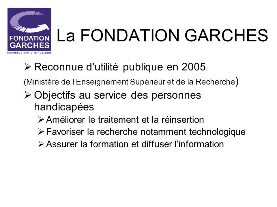 La FONDATION GARCHES Reconnue d'utilité publique en 2005