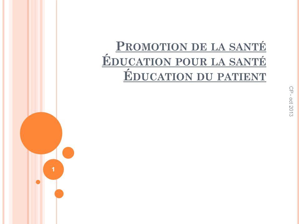 Promotion de la santé Éducation pour la santé Éducation du patient