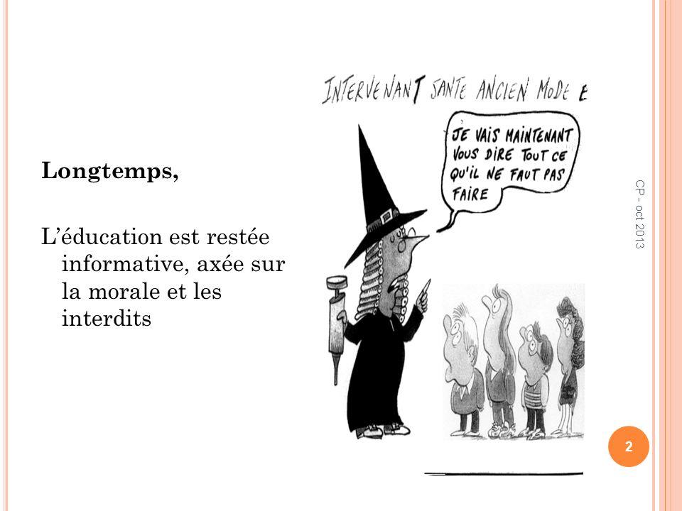 Longtemps, L'éducation est restée informative, axée sur la morale et les interdits CP - oct 2013