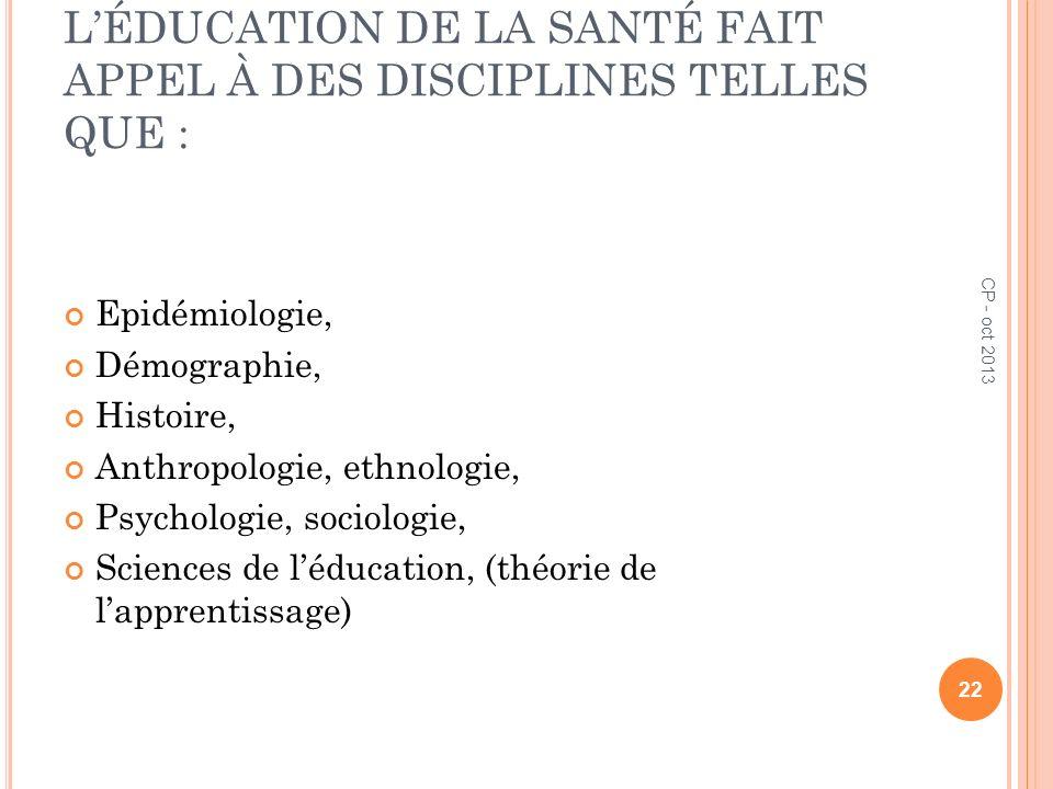 L'ÉDUCATION DE LA SANTÉ FAIT APPEL À DES DISCIPLINES TELLES QUE :
