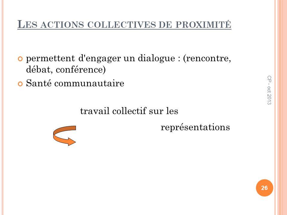 Les actions collectives de proximité