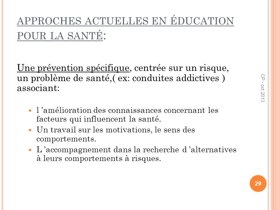 approches actuelles en éducation pour la santé: