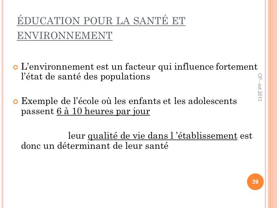 éducation pour la santé et environnement