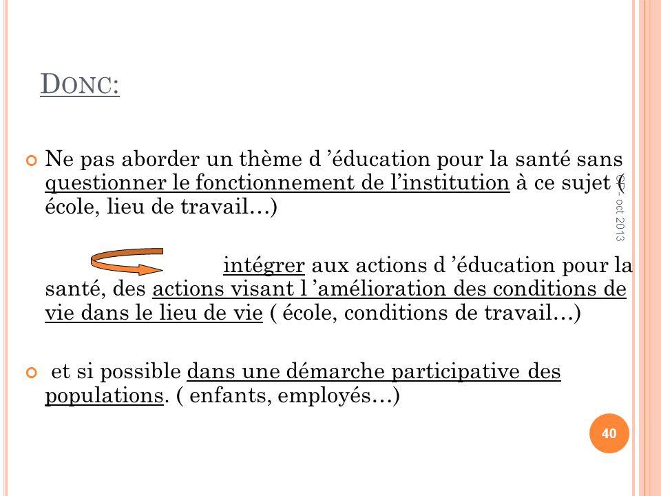 Donc:Ne pas aborder un thème d 'éducation pour la santé sans questionner le fonctionnement de l'institution à ce sujet ( école, lieu de travail…)