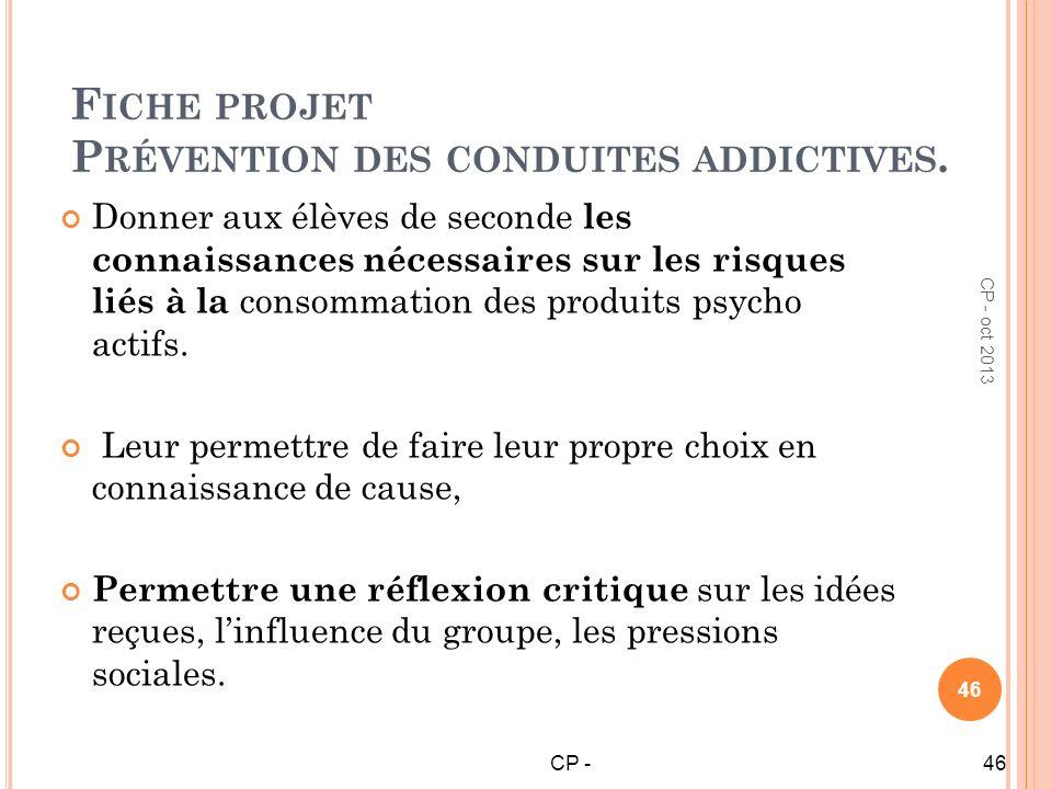 Fiche projet Prévention des conduites addictives.