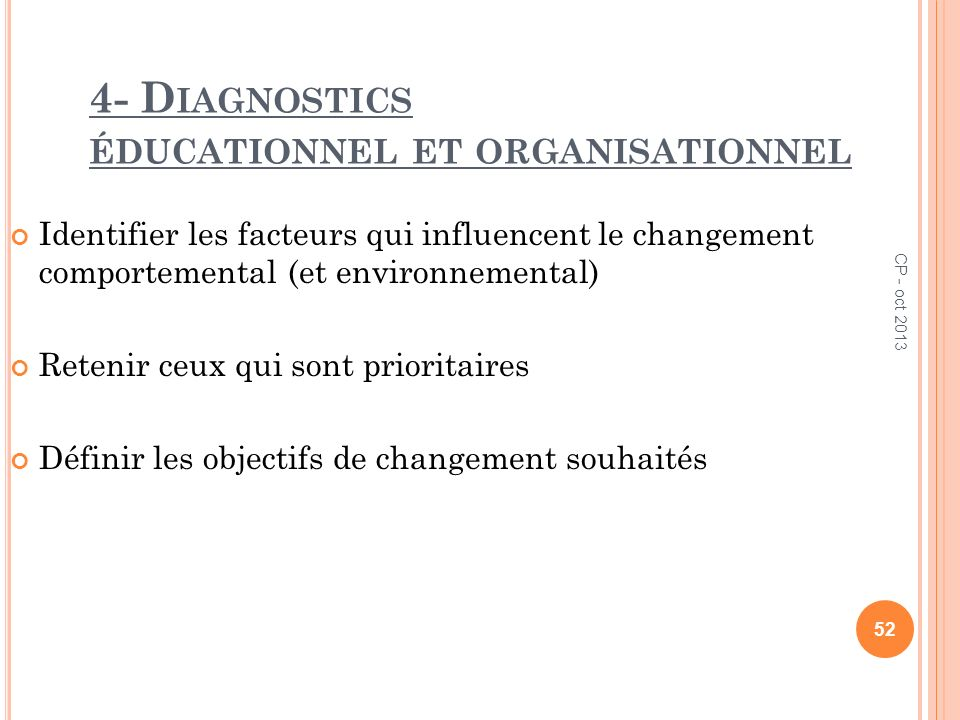 4- Diagnostics éducationnel et organisationnel