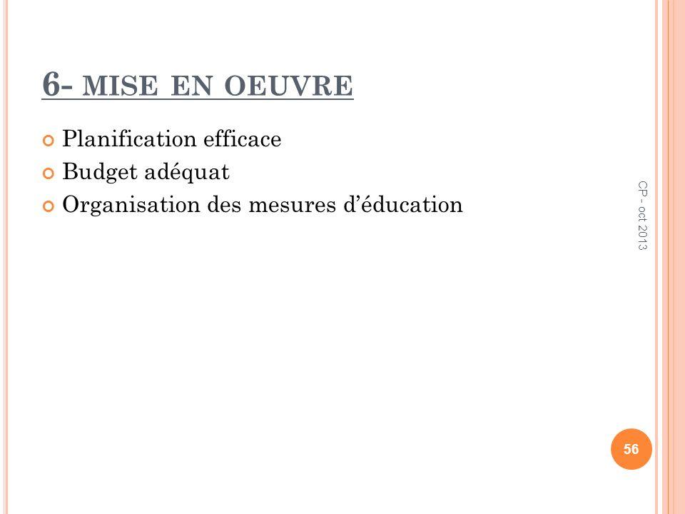 6- mise en oeuvre Planification efficace Budget adéquat