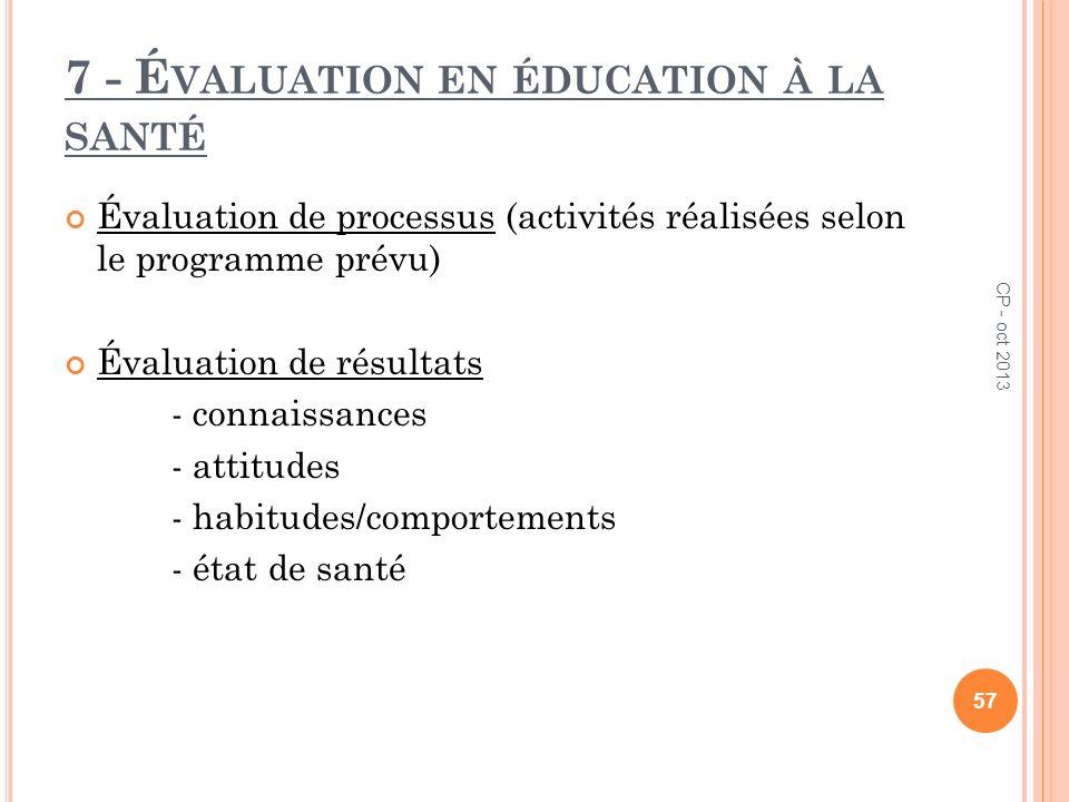 7 - Évaluation en éducation à la santé