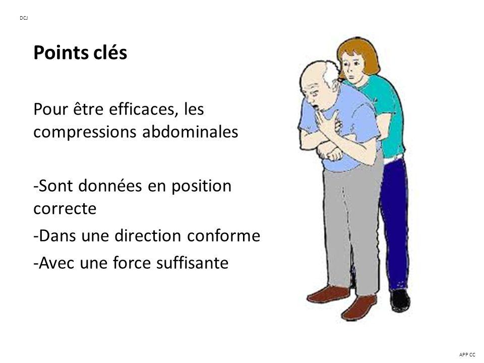 Points clés Pour être efficaces, les compressions abdominales