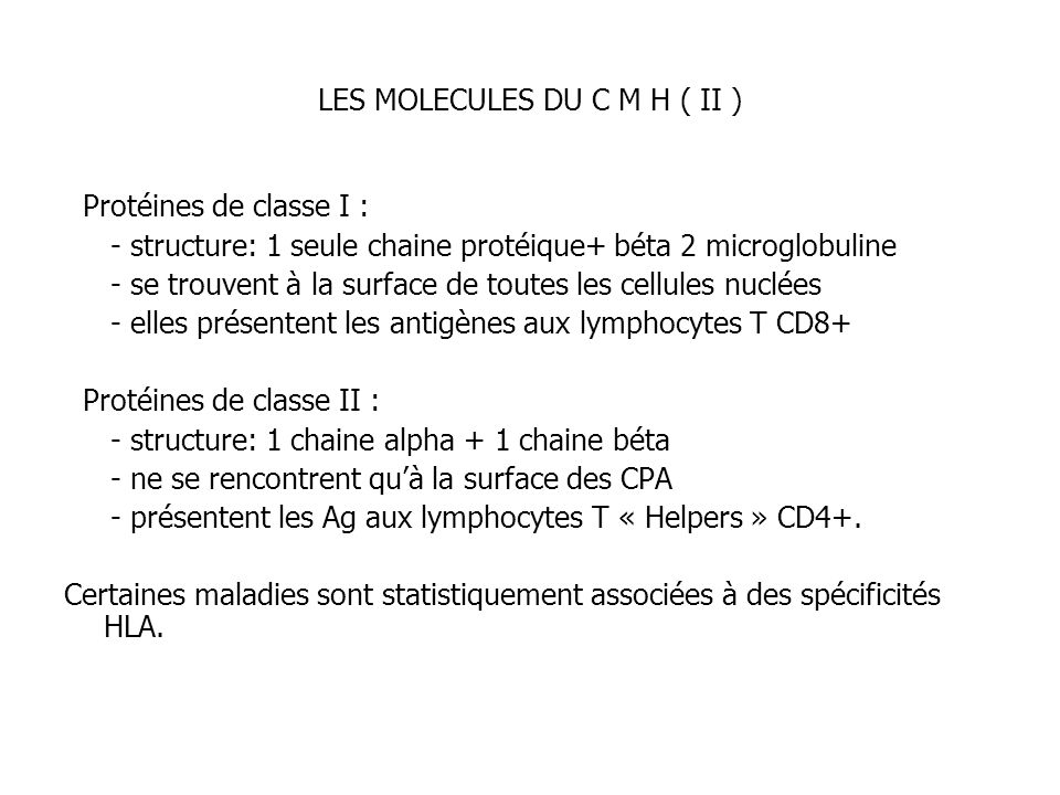 LES MOLECULES DU C M H ( II )