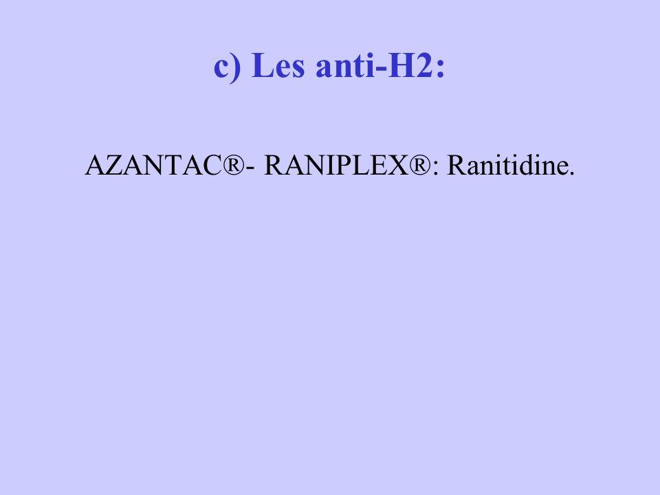 AZANTAC®- RANIPLEX®: Ranitidine.