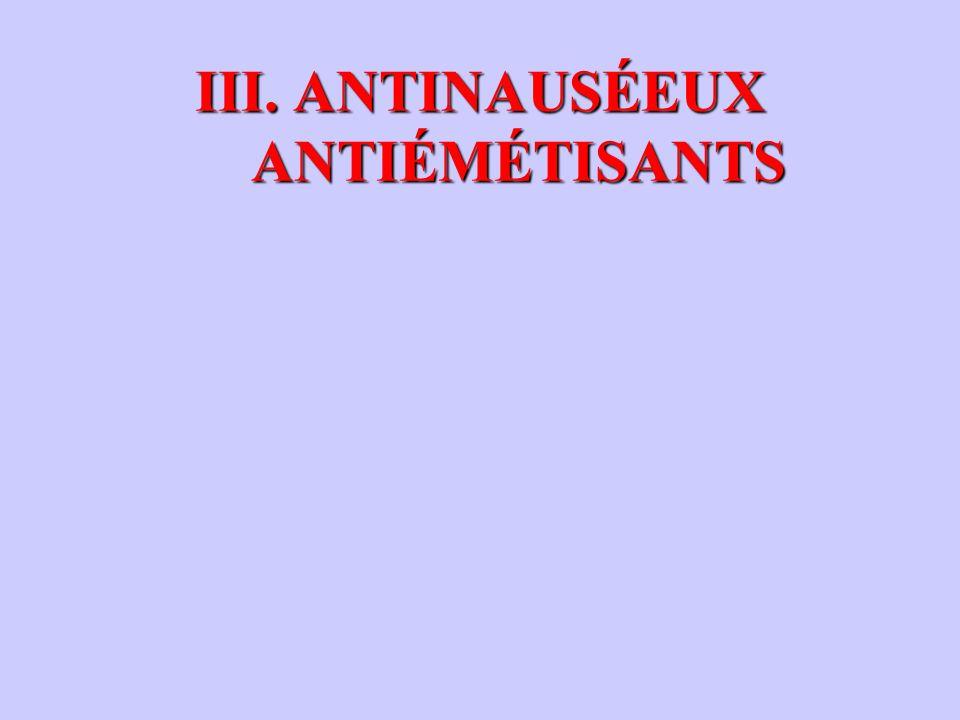 III. ANTINAUSÉEUX ANTIÉMÉTISANTS
