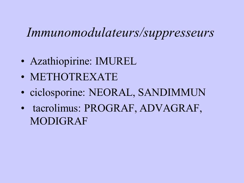 Immunomodulateurs/suppresseurs