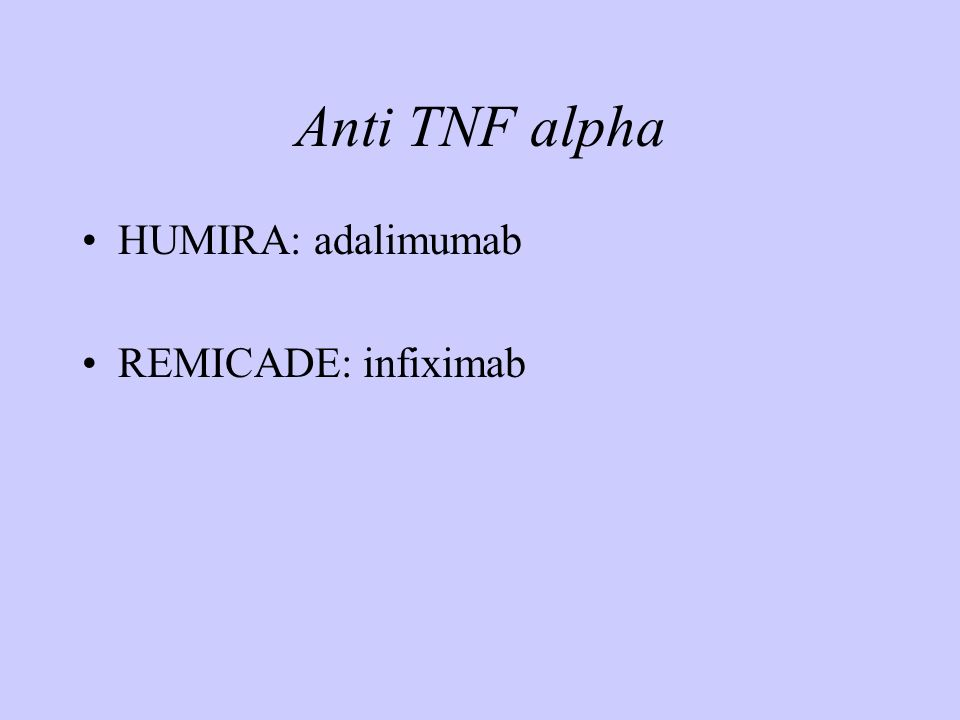 Anti TNF alpha HUMIRA: adalimumab REMICADE: infiximab