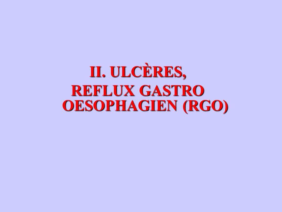 II. ULCÈRES, REFLUX GASTRO OESOPHAGIEN (RGO)