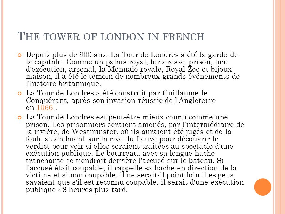 The tower of london in french
