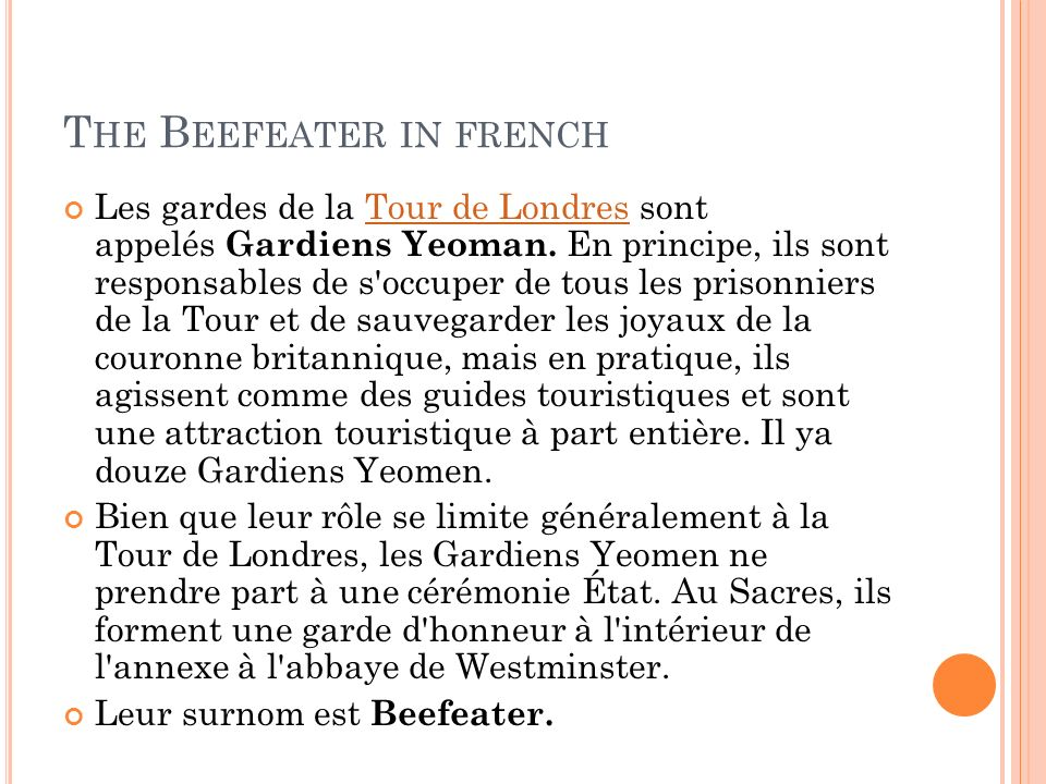 The Beefeater in french