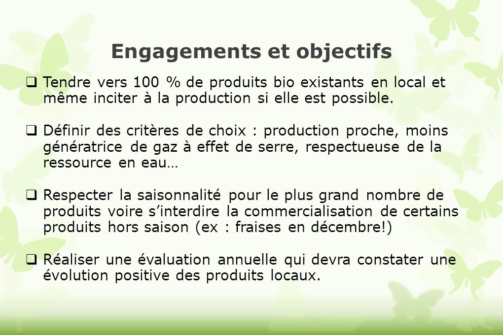Engagements et objectifs
