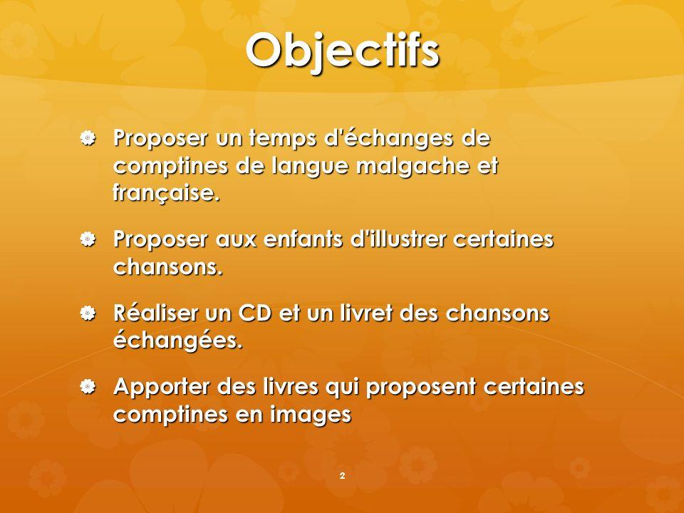 Objectifs Proposer un temps d échanges de comptines de langue malgache et française. Proposer aux enfants d illustrer certaines chansons.