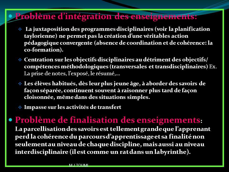 Problème d'intégration des enseignements: