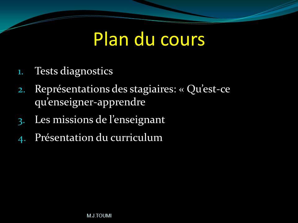 Plan du cours Tests diagnostics