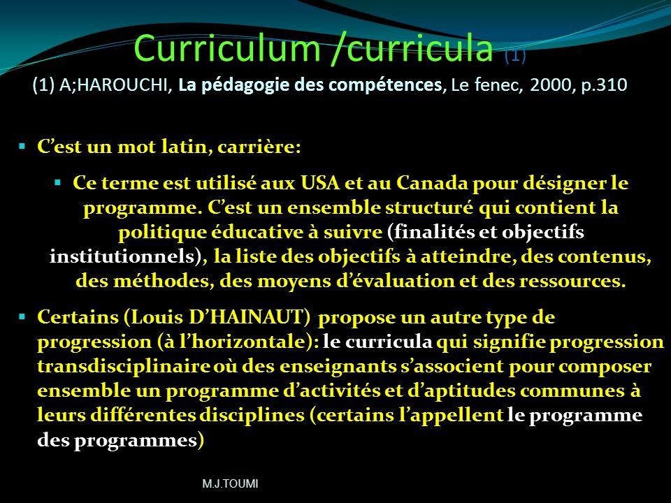 Curriculum /curricula (1) (1) A;HAROUCHI, La pédagogie des compétences, Le fenec, 2000, p.310