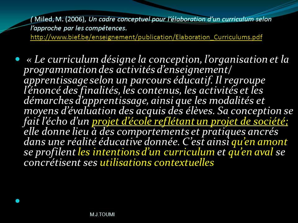 ( Miled, M. (2006), Un cadre conceptuel pour l'élaboration d'un curriculum selon l'approche par les compétences. http://www.bief.be/enseignement/publication/Elaboration_Curriculums.pdf