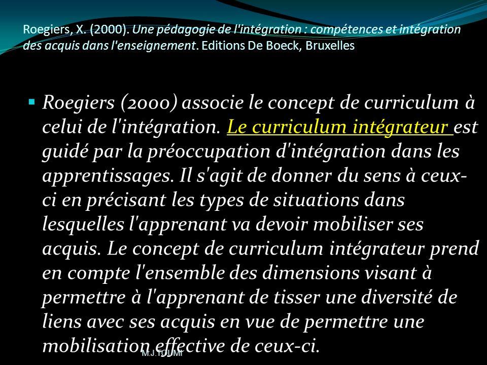 Roegiers, X. (2000). Une pédagogie de l intégration : compétences et intégration des acquis dans l enseignement. Editions De Boeck, Bruxelles