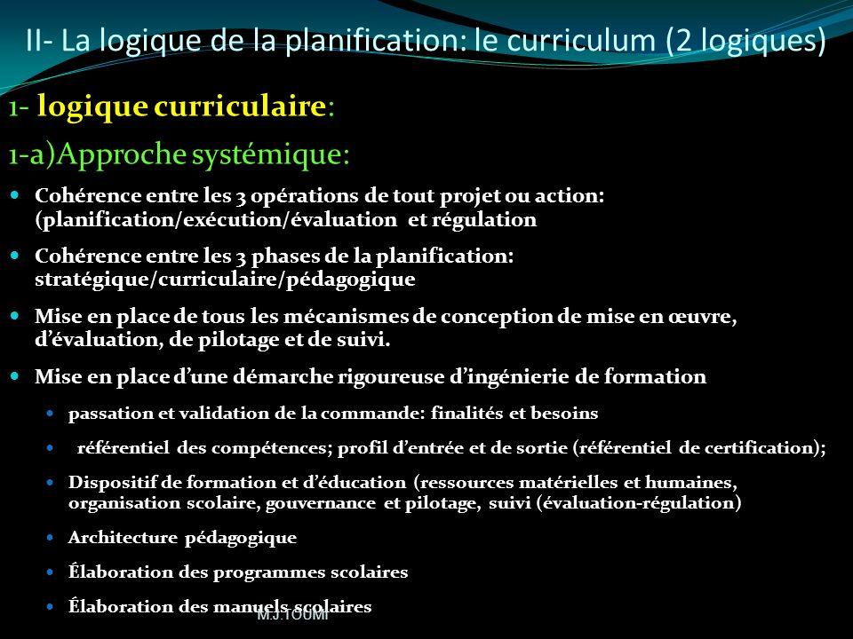 II- La logique de la planification: le curriculum (2 logiques)