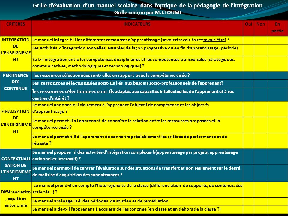 Grille d'évaluation d'un manuel scolaire dans l'optique de la pédagogie de l'intégration
