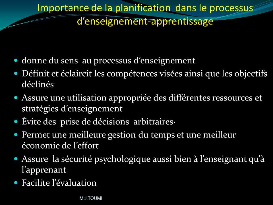Importance de la planification dans le processus d'enseignement-apprentissage