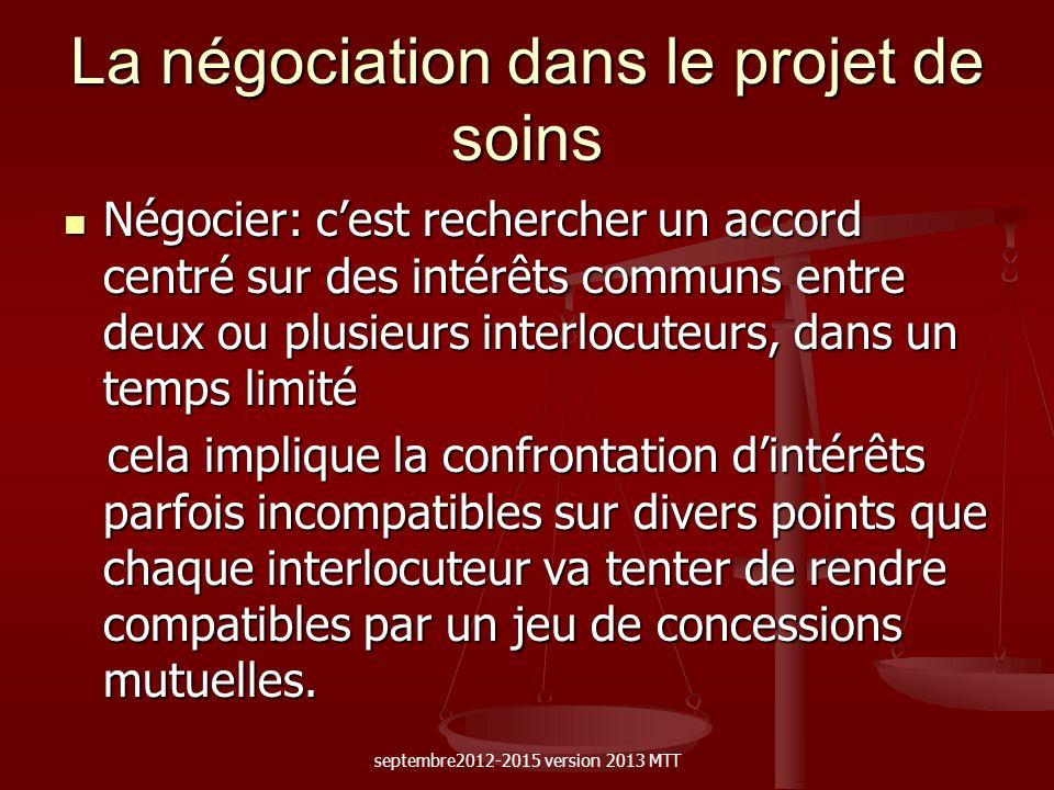 La négociation dans le projet de soins