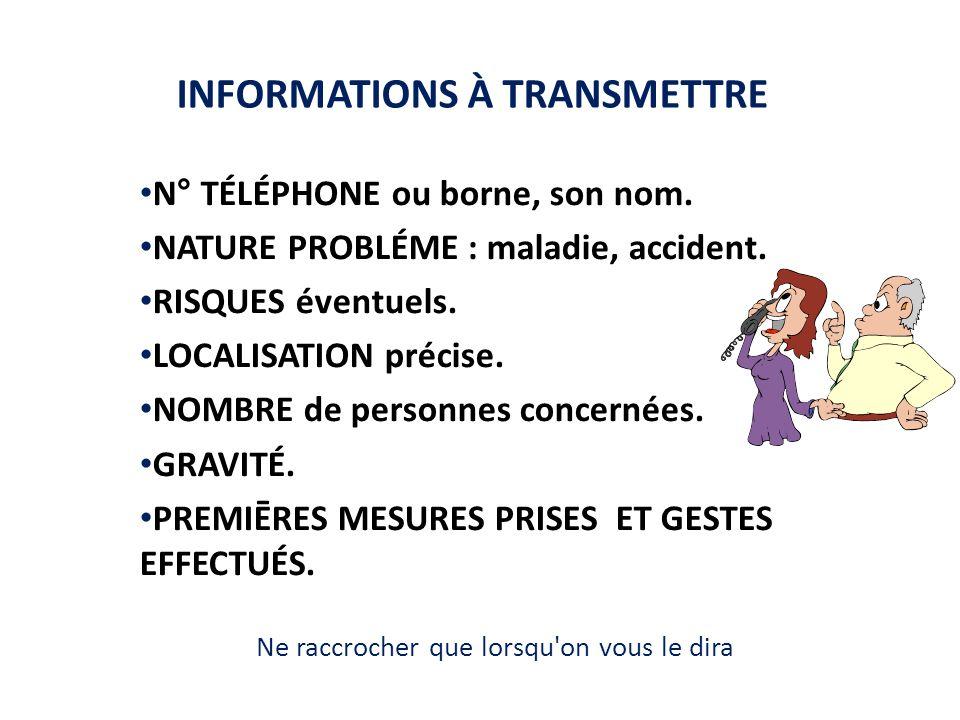 INFORMATIONS À TRANSMETTRE