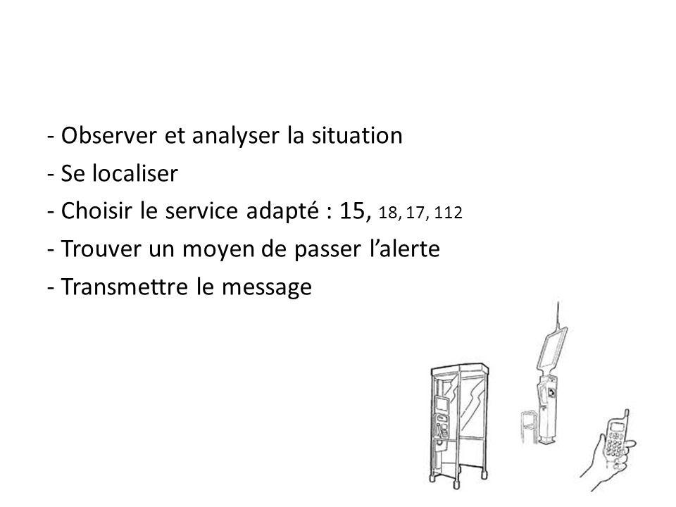 - Observer et analyser la situation - Se localiser - Choisir le service adapté : 15, 18, 17, 112 - Trouver un moyen de passer l'alerte - Transmettre le message