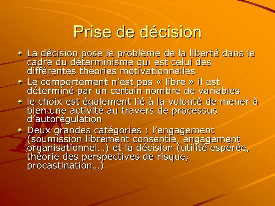 Prise de décision La décision pose le problème de la liberté dans le cadre du déterminisme qui est celui des différentes théories motivationnelles.