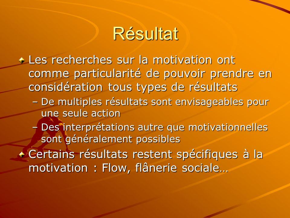 Résultat Les recherches sur la motivation ont comme particularité de pouvoir prendre en considération tous types de résultats.