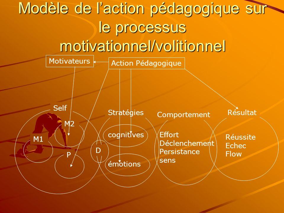 Modèle de l'action pédagogique sur le processus motivationnel/volitionnel
