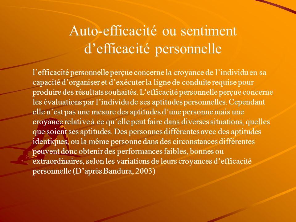 Auto-efficacité ou sentiment d'efficacité personnelle